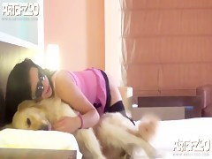 sexy blonde play with dog
